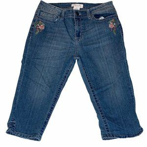 LEVEL EIGHT Floral Embroidered Capri Jeans